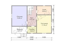 Дом из бруса проект Амирам - вид 2