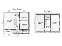 Дом из бруса проект Борислав - вид 2