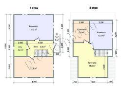 Дом из сухого бруса проект Демид - вид 2