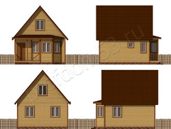 Дом из бруса проект Динар - вид 2