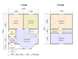 Дом из бруса проект Динар - вид 3