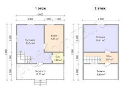 Дом из бруса проект Федор - вид 3