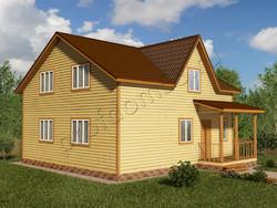 Дом из бруса проект Итан - вид 1