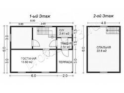Дом из сухого бруса проект Кирилл - вид 2