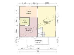 Дом из бруса проект Константин - вид 3