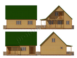 Дом из сухого бруса проект Махмуд - вид 2