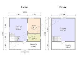 Дом из бруса проект Макар - вид 2