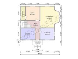 Дом из бруса проект Расим - вид 3