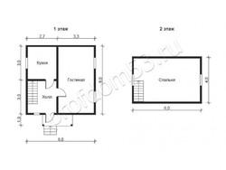 Дом из бруса проект Родион - вид 2