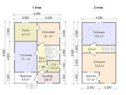 Дом из бруса проект Станислав - вид 3