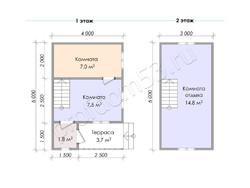Дом из сухого бруса проект Харитон - вид 3
