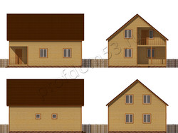 Дом из сухого бруса проект Зураб - вид 2